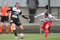 Chloe Van Mingeroet (17) of Eendracht Aalst and Ulrike De Frere (7) of Zulte Waregem  pictured during a female soccer game between SV Zulte - Waregem and Eendracht Aalst on the 9 th matchday in play off 2 of the 2020 - 2021 season of Belgian Scooore Womens Super League , saturday 22 nd of May 2021  in Zulte , Belgium . PHOTO SPORTPIX.BE   SPP   DIRK VUYLSTEKE