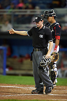 Umpire Tyler Jones during a game between the Williamsport Crosscutters and Batavia Muckdogs on August 28, 2015 at Dwyer Stadium in Batavia, New York.  Batavia defeated Williamsport 6-0.  (Mike Janes/Four Seam Images)