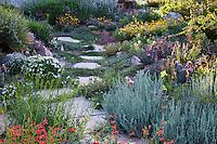Stepping stone, flagstone path through David Salman New Mexico rock garden