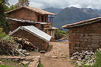 Peru, Urubamba Valley, Quechua Village of Misminay.  House under Construction, Adding a Second Story.