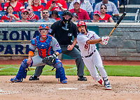 30 April 2017: Washington Nationals third baseman Anthony Rendon hits a 3-RBI double to deep right in the 5th inning against the New York Mets at Nationals Park in Washington, DC. The Nationals defeated the Mets 23-5, with the Nationals setting several individual and team records, in the third game of their weekend series. Mandatory Credit: Ed Wolfstein Photo *** RAW (NEF) Image File Available ***