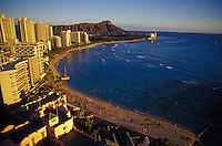 Famous view of Waikiki beach and Diamond head taken near sunset, Oahu