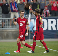 Commerce City, CO - Thursday June 08, 2017: Christian Pulisic, DeAndre Yedlin during a 2018 FIFA World Cup Qualifying Final Round match between the men's national teams of the United States (USA) and Trinidad and Tobago (TRI) at Dick's Sporting Goods Park.