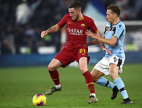 Football, Serie A: AS Roma - S.S. Lazio, Olympic stadium, Rome, January 26, 2020. <br /> Roma's Jordan Veretout (l) in action with Lazio's Lukas Leiva (r) during the Italian Serie A football match between Roma and Lazio at Olympic stadium in Rome, on January,  26, 2020. <br /> UPDATE IMAGES PRESS/Isabella Bonotto