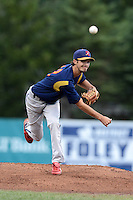 State College Spikes pitcher Andrew Pierce (12) during a game against the Jamestown Jammers on September 3, 2013 at Russell Diethrick Park in Jamestown, New York.  State College defeated Jamestown 3-1.  (Mike Janes/Four Seam Images)