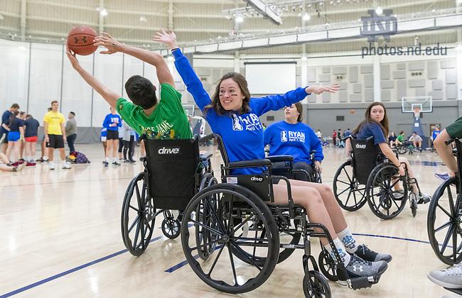 April 7, 2019;  Ryan Hall Wheelchair Basketball. (Photo by Barbara Johnston/University of Notre Dame)