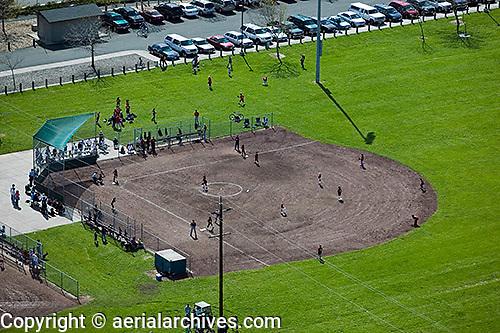 aerial photograph community baseball game, Petaluma, Sonoma county, California