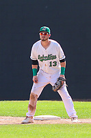 Clinton LumberKings first baseman Ryan Costello (13) holds a runner at first base during a Midwest League game against the Lansing Lugnuts on July 15, 2018 at Ashford University Field in Clinton, Iowa. Clinton defeated Lansing 6-2. (Brad Krause/Four Seam Images)