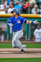 Alex Burg (6) of the Round Rock Express at bat against the Salt Lake Bees in Pacific Coast League action at Smith's Ballpark on August 13, 2016 in Salt Lake City, Utah. Round Rock defeated Salt Lake 7-3.  (Stephen Smith/Four Seam Images)