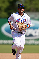 New York Mets minor league second baseman J.B. Brown (15) during a game vs. the Minnesota Twins in an Instructional League game at City of Palms Park in Fort Myers, Florida;  October 4, 2010.  Photo By Mike Janes/Four Seam Images
