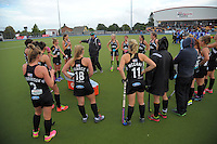 NZ coach Mark Hager talks to his team during the international women's hockey match between the New Zealand Black Sticks and Malaysia at TET Stadium, Stratford, New Zealand on Thursday, 15 December 2016. Photo: Dave Lintott / lintottphoto.co.nz