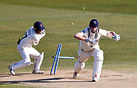 Zak Crawley of Kent survives an attempted stumping by Alex Davies during Kent CCC vs Lancashire CCC, LV Insurance County Championship Group 3 Cricket at The Spitfire Ground on 24th April 2021