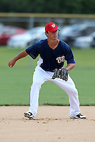 Washington Nationals infielder Zach Walters #5 during an Instructional League game against the national team from Italy at Carl Barger Training Complex on September 28, 2011 in Viera, Florida.  (Mike Janes/Four Seam Images)
