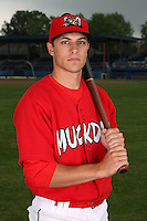 Batavia Muckdogs Outfielder Pat Biserta (5) poses for a photo before minicamp team practice at Dwyer Stadium in Batavia, New York June 14, 2010.   Photo By Mike Janes/Four Seam Images