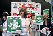 Workers from Barking Hospital picket the AGM of private contractor Prichards over plans to privatiuse domestic services at the hospital.