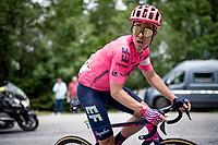Michael Valgren (DEN/EF Education - Nippo) going 'solo leader' up the final climb towards La Plagne (HC/2072m/17.1km@7.5%) <br /> <br /> 73rd Critérium du Dauphiné 2021 (2.UWT)<br /> Stage 7 from Saint-Martin-le-Vinoux to La Plagne (171km)<br /> <br /> ©kramon