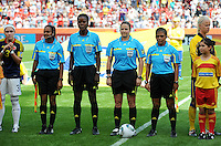Fifa Women's World Cup Germany 2011 : Colombia - Sweden at Bayarena Leverkusen : Officials.Referee: Carol Anne CHENARD (CAN) Assistant Referee 1: Emperatriz AYALA (SLV) Assistant Referee 2: Cindy MOHAMMED (TRI) Fourth official: Therese NEGUEL (CMR).foto DAVID CATRY / Vrouwenteam.be