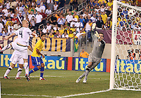 Michael Bradley #4 of the USA heads the ball past Victor #1 of Brazil for a disallowed goal during an international friendly match in Giants Stadium, on August 10 2010, in East Rutherford, New Jersey.Brazil won 2-0.