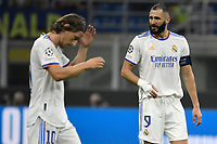 Luka Modric and Karim Benzema of Real Madrid react during the Uefa Champions League group D football match between FC Internazionale and Real Madrid at San Siro stadium in Milano (Italy), September 15th, 2021. Photo Andrea Staccioli / Insidefoto