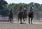 09 July 04: Ramon Dominguez rides Cat Moves (no. 1 - 2nd from left) to victory in the 62nd running of the grade 1 Prioress Stakes for three year old fillies at Belmont Park in Elmont, New York.