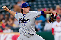 Rob Scahill (34) of the Tulsa Drillers delivers a pitch during a game against the Springfield Cardinals on April 29, 2011 at Hammons Field in Springfield, Missouri.  Photo By David Welker/Four Seam Images.