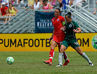 Washington Freedom forward Abby Wambach (20)  and St. Louis Athletica forward Melissa Tancredi (14) during a WPS match at Anheuser-Busch Soccer Park, in Fenton, MO, June 20 2009. Washington  won the match 1-0.