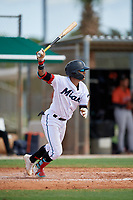 GCL Marlins Victor Mesa Jr. (9) bats during a Gulf Coast League game against the GCL Astros on August 8, 2019 at the Roger Dean Chevrolet Stadium Complex in Jupiter, Florida.  GCL Astros defeated GCL Marlins 4-2.  (Mike Janes/Four Seam Images)