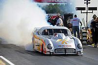 Sept. 5, 2011; Claremont, IN, USA: NHRA pro mod driver Melanie Troxel during the US Nationals at Lucas Oil Raceway. Mandatory Credit: Mark J. Rebilas-