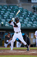 Jupiter Hammerheads Dalvy Rosario (7) bats during a game against the Palm Beach Cardinals on May 11, 2021 at Roger Dean Chevrolet Stadium in Jupiter, Florida.  (Mike Janes/Four Seam Images)
