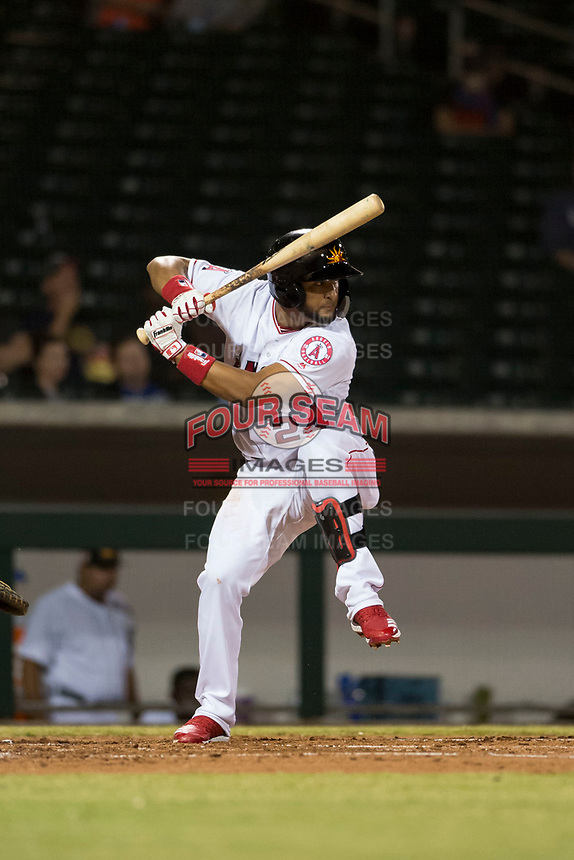 Mesa Solar Sox third baseman Roberto Baldoquin (24), of the Los Angeles Angels organization, at bat during an Arizona Fall League game against the Scottsdale Scorpions at Sloan Park on October 10, 2018 in Mesa, Arizona. Scottsdale defeated Mesa 10-3. (Zachary Lucy/Four Seam Images)