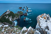 Dusk at Nugget Point lighthouse with rocky islets, Catlins, East Coast, Southland, New Zealand, NZ