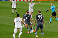 ST PAUL, MN - SEPTEMBER 06: Hassani Dotson #31 of Minnesota United FC passes the ball back during a game between Real Salt Lake and Minnesota United FC at Allianz Field on September 06, 2020 in St Paul, Minnesota.