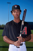 AZL D-backs infielder Glenallen Hill Jr. (6) poses for a photo before an Arizona League game against the AZL Angels on July 20, 2019 at Salt River Fields at Talking Stick in Scottsdale, Arizona. The AZL Angels defeated the AZL D-backs 11-4. (Zachary Lucy/Four Seam Images)