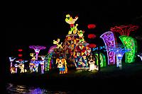 Nanjing, Jiangsu, China.  Illuminated Decorations along the Qinhuai River at Night.
