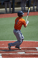 Joshua Lamb (2) of the UTSA Roadrunners follows through on his swing against the Charlotte 49ers at Hayes Stadium on April 18, 2021 in Charlotte, North Carolina. (Brian Westerholt/Four Seam Images)