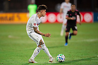 LAKE BUENA VISTA, FL - JULY 27: Brian Rodriguez #17 of LAFC kicks the ball during a game between Seattle Sounders FC and Los Angeles FC at ESPN Wide World of Sports on July 27, 2020 in Lake Buena Vista, Florida.