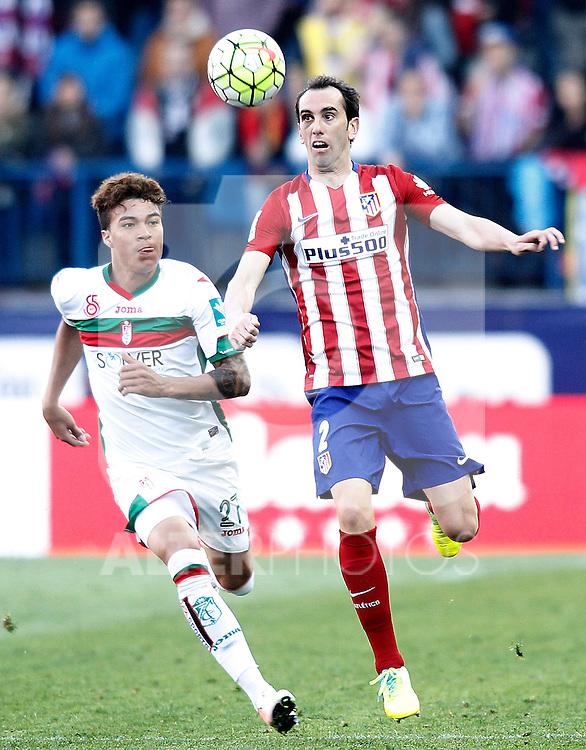 Atletico de Madrid's Diego Godin (r) and Granada Club de Futbol's Adalberto Penaranda during La Liga match. April 17,2016. (ALTERPHOTOS/Acero)