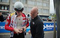 Tour of Belgium 2013.stage 3: iTT..André Greipel (DEU) & DS Jean-Pierre Heynderickx check the radio-gear pré-race