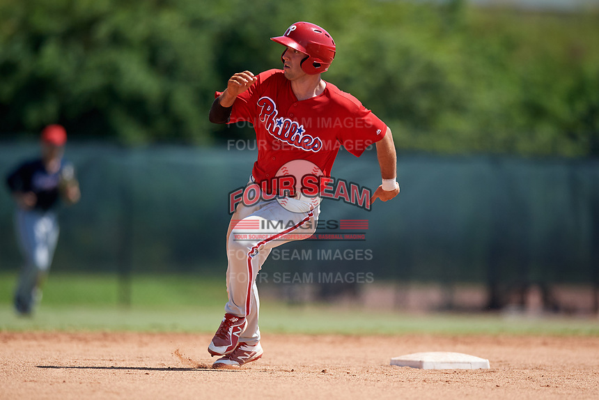 Philadelphia Phillies Matt Vierling (24) runs the bases during a Florida Instructional League game against the Atlanta Braves on October 5, 2018 at the Carpenter Complex in Clearwater, Florida.  (Mike Janes/Four Seam Images)
