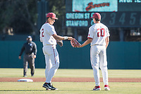 STANFORD, CA - MAY 27: Drew Bowser, Brendan Beck during a game between Oregon State University and Stanford Baseball at Sunken Diamond on May 27, 2021 in Stanford, California.