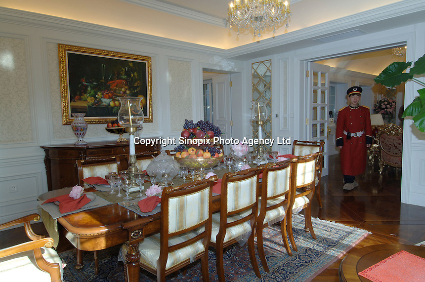 The dining room of the Palais de Fortune luxury development in Beijing, China. The development consists of 172 luxury mansions selling for over 2 million pounds each. The development is a heaven for China's super-rich terrified of kidnap and murder. The mansions are packed together and will form a dense community of millionaires..04 Feb 2006