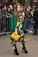 Xenia Tchoumitcheva<br /> arrives for the Topshop Unique AW17 show as part of London Fashion Week AW17 at Tate Modern, London.<br /> <br /> <br /> ©Ash Knotek  D3232  19/02/2017