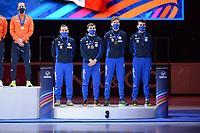 SPEEDSKATING: DORDRECHT: 07-03-2021, ISU World Short Track Speedskating Championships, Podium 5000m Relay, Yuri Confortola, Tomasso Dotti, Luca Spechenhauser, Pietro Sighel (ITA), ©photo Martin de Jong