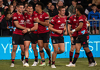 The Crusaders celebrate a try during the 2021 Super Rugby Aotearoa final between the Crusaders and Chiefs at Orangetheory Stadium in Christchurch, New Zealand on Saturday, 8 May 2021. Photo: Joe Johnson / lintottphoto.co.nz