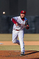 Wisconsin Timber Rattlers pitcher Robbie Hitt (10) delivers a pitch during a Midwest League game against the Beloit Snappers on April 7, 2018 at Fox Cities Stadium in Appleton, Wisconsin. Beloit defeated Wisconsin 10-1. (Brad Krause/Four Seam Images)