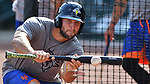 Tim Tebow (15) of the Columbia Fireflies takes bunting practice before a game against the Lexington Legends on Friday, April 21, 2017, at Spirit Communications Park in Columbia, South Carolina. Columbia won, 5-0. (Tom Priddy/Four Seam Images)