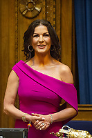 Catherine Zeta-Jones during the ceremony at the Guildhall in Swansea, Wales, UK. Wednesday 24 July 2019<br /> Re: Catherine Zeta-Jones receives the honorary freedom of the City and County of Swansea during a ceremony at the Guildhall in Swansea, Wales, UK.