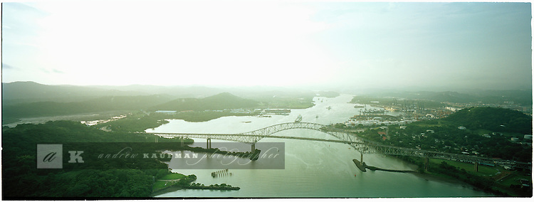 The Pacific entrance to the Panama Canal. An aerial view of Panama City, Panama.