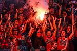 10.08.2019, Donaustadion, Ulm, GER, DFB Pokal, SSV Ulm 1846 Fussball vs 1. FC Heidenheim, <br /> DFL REGULATIONS PROHIBIT ANY USE OF PHOTOGRAPHS AS IMAGE SEQUENCES AND/OR QUASI-VIDEO, <br /> im Bild Bengalos, Pyrotechnik im Heidenheimer Fanblock, vermummter Heidenheimer Ultra<br /> <br /> Foto © nordphoto / Hafner
