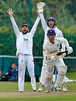 23rd September 2021; Aigburth, Liverpool, Merseyside, England; LV=Country Cricket Championship; Lancashire versus Hampshire;<br /> Hampshire skipper James Vince and keeper Lewis McManus make an unsuccessful appeal against Dane Vilasof Lancashire